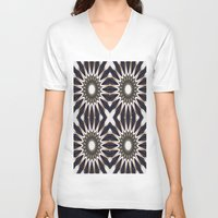 chocolate V-neck T-shirts featuring Chocolate Flower Mandala Pattern by 2sweet4words Designs