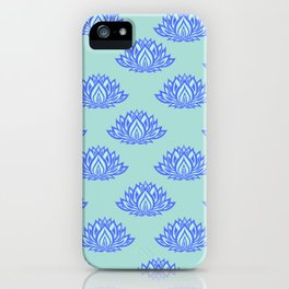 Lotus Pattern Blue iPhone Case