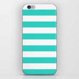 Horizontal Stripes - White and Turquoise iPhone Skin