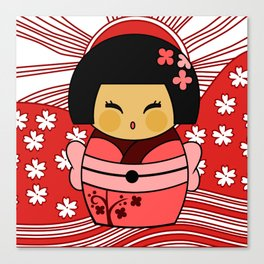 Kokeshi Sakura Canvas Print