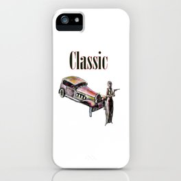 Classic car and art deco girl iPhone Case
