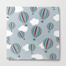 Hot air balloons and clouds - grayish purple Metal Print