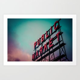 Seattle Pike Place Public Market Sign at Dawn Art Print