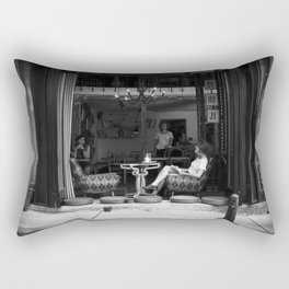 Morning coffee in a cafe - Black and white street photography Rectangular Pillow