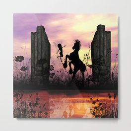 Cute fairy with foal  Metal Print