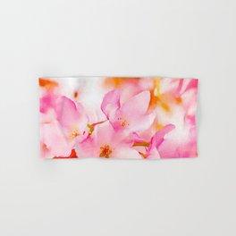 Pink Crab Apple Blossoms Watercolor Hand & Bath Towel