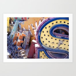 Broken Down Signs, Lights, and Colours in Las Vegas 03 Art Print