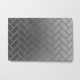 Herringbone Gradient Gray Metal Print
