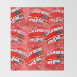 Red London Buses Throw Blanket