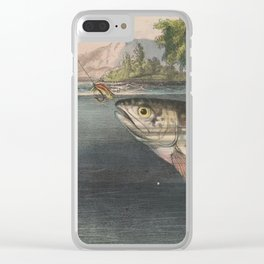 Vintage River Fishing Illustration (1874) Clear iPhone Case