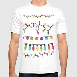 Light Bulbs Collection. Set of Christmas lights for Xmas holiday greeting card design vector backgro T-shirt