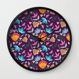 Brilliant Blooms on Purple Wall Clock