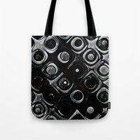 queens of the stone age Tote Bags featuring Stone Age Abstract Art by GothicToggs