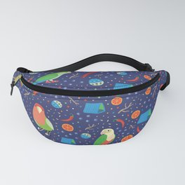 Love Bird, Sun Conure and Monk Parrots on Dark Blue Playground Fanny Pack