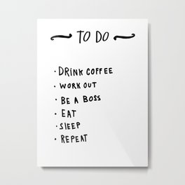 Boss Lady To Do list - hand lettering Metal Print