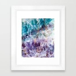 Turquoise & Purple Quartz Crystal Framed Art Print