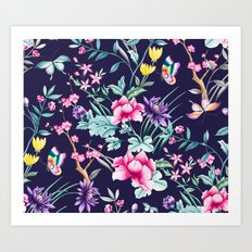 Chinoiserie french navy floral Art Print