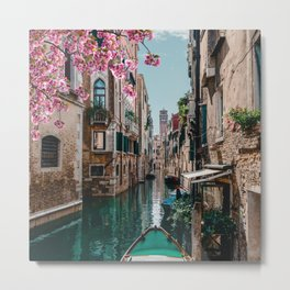 Spring Venice emerald canal with old building  Metal Print