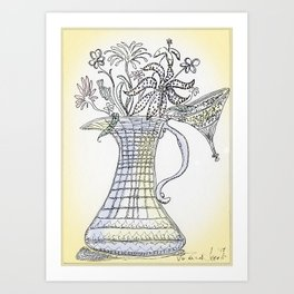Pitcher with Flowering Plants (yellow) Art Print