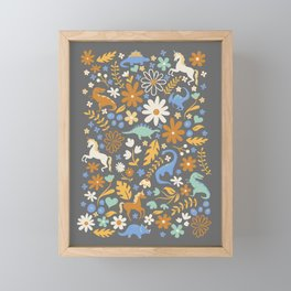 Dinosaur + Unicorns in Blue + Umber Framed Mini Art Print