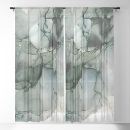 Charcoal Wisp: Original Abstract Alchol Ink Painting Sheer Curtain