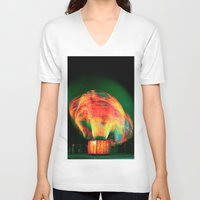 lights V-neck T-shirts featuring Lights by Teodora Roşca