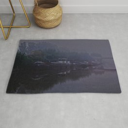 Boats in the morning mist  Rug