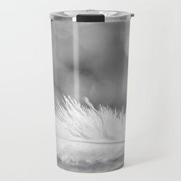 White Feather In Black And White Bokeh Background #decor #society6 #buyart Travel Mug