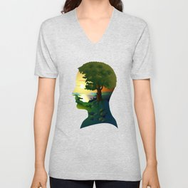 human nature, inner space of a portrait Unisex V-Neck