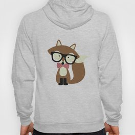 Glasses and Bow Tie Hipster Brown Fox Hoody