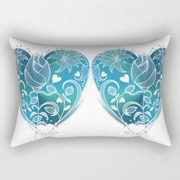White Inked Floral Heart - Blues Rectangular Pillow