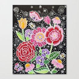 Folk Art Flowers Canvas Print