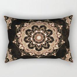 Glowing Spirit Black White Mandala Design Rectangular Pillow