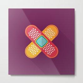 Plaster scratch sore polka line purple yellow Metal Print