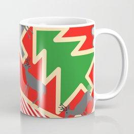 Retro deer and Christmas trees Coffee Mug
