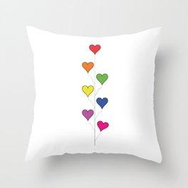 7 Rainbow Colored Heart Balloons  Throw Pillow
