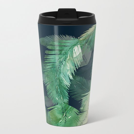 Tropical Leaves at Night Metal Travel Mug