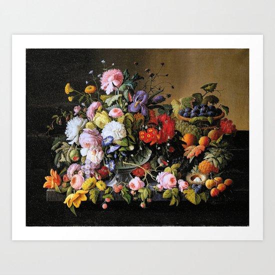 Vintage Varnish- Flowers&Fruit Art Print