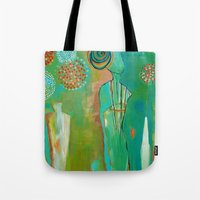 "flora bowley Tote Bags featuring ""Wish Believe"" Original Painting by Flora Bowley by Flora Bowley"