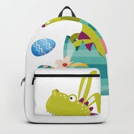 Dinosaur T-Rex Bunny Easter Egg Funny Gift For Boys Backpack