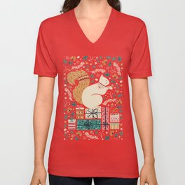 Merry Little Squirrel  Unisex V-Neck