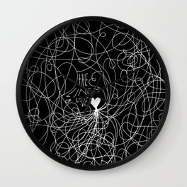 The lines of Love - Black version. Wall Clock