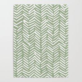 Boho Herringbone Pattern, Sage Green and White Poster