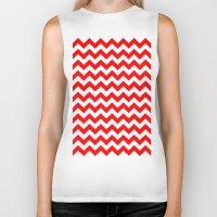 chevron Biker Tanks featuring Chevron (Red/White) by 10813 Apparel
