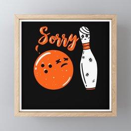 BOWLING: Injured Bowling Pin Gift Idea Motif Framed Mini Art Print