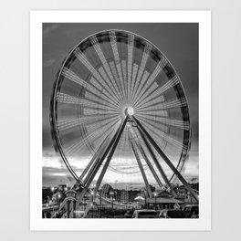 The Branson 76 Strip Ferris Wheel at Dusk in Black and White Art Print