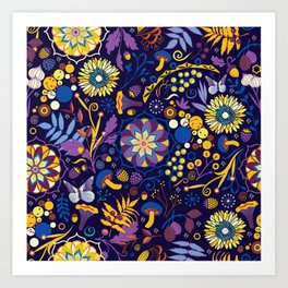Ripe autumn – purple and yellow Art Print