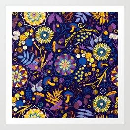 Ripe autumn – purple and yellow Art Print