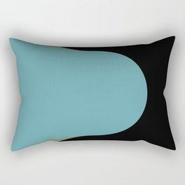 A strong Blue circular wave entering a green and black seaside. Rectangular Pillow