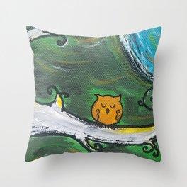 Owl Sleeps In Throw Pillow